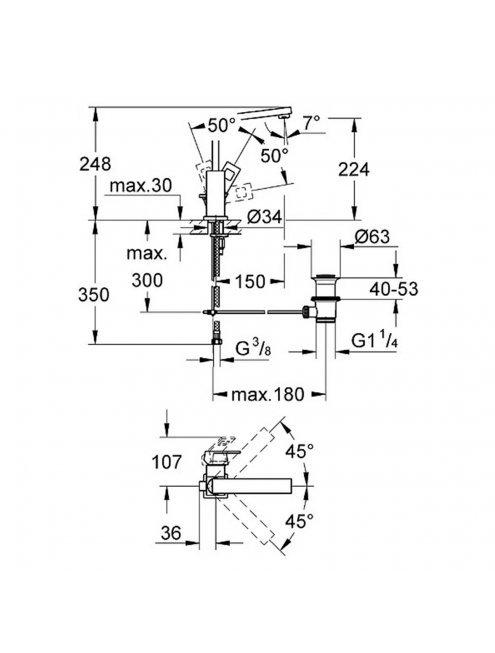 Смеситель Grohe Eurocube 23135000 для раковины