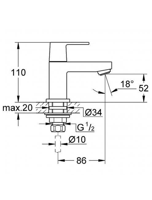 Кран Grohe Eurocube 23137000 для раковины