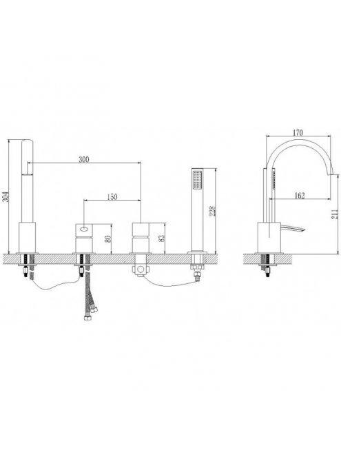 Смеситель LeMark Atlantiss LM3241C для ванны-душа на 4 отверстия