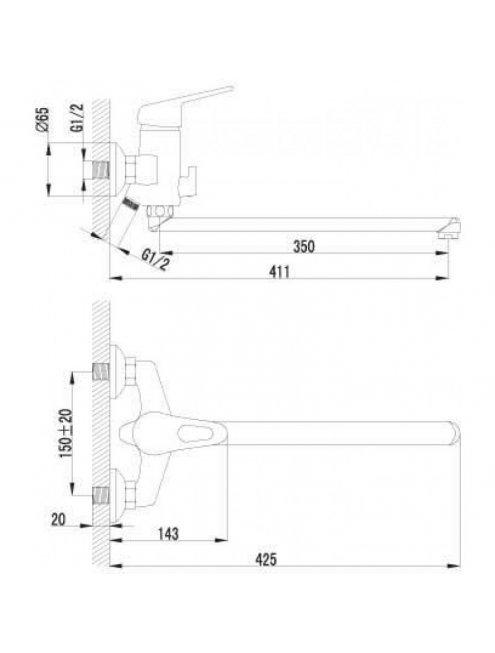 Смеситель LeMark Luna LM4151C универс. с плоским изливом и поворотным перекл.