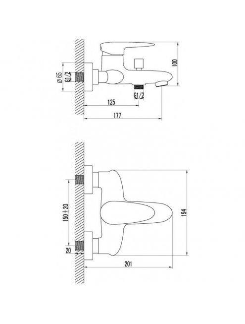 Смеситель LeMark Status LM4402C для ванны-душа с коротким изливом