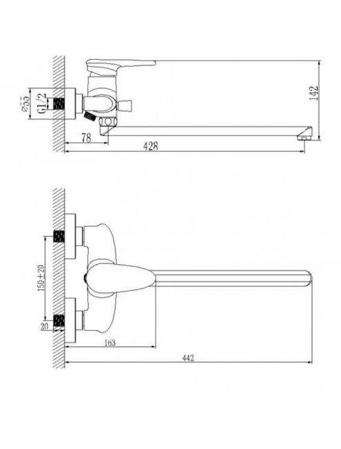 Смеситель LeMark Status LM4451C универсальный с плоским изливом 350 мм