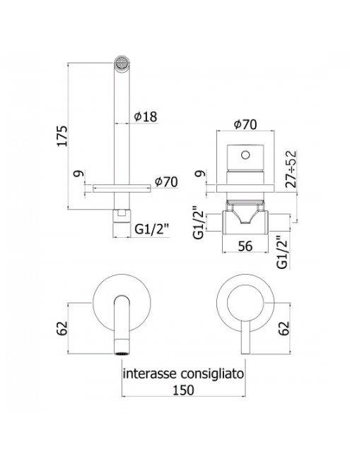 Смеситель Paffoni Light LIG006CR70 С ВНУТРЕННЕЙ ЧАСТЬЮ для раковины