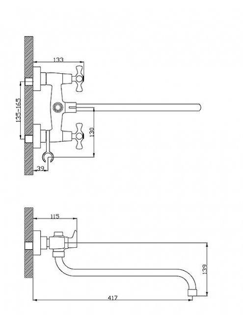 Смеситель Rossinka H02-84 универсальный
