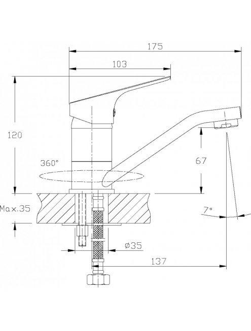 Смеситель Rossinka RS29-22 для раковины