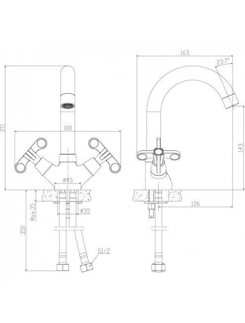 Смеситель Rossinka RS42-62 для раковины