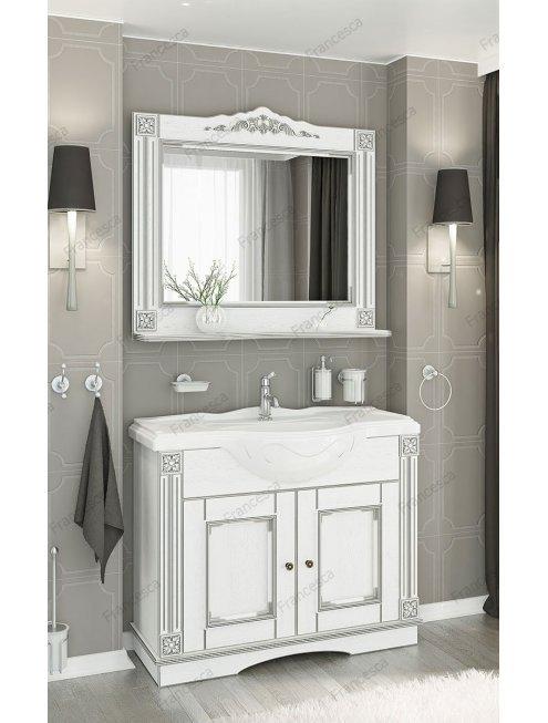 Комплект мебели Венеция Аврора 105 белый с патиной серебро