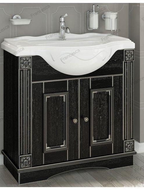 Комплект мебели Венеция Аврора 85 черный с патиной серебро