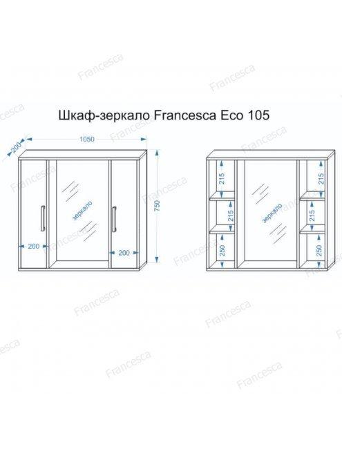 Шкаф-зеркало Francesca Eco 105 дуб-венге