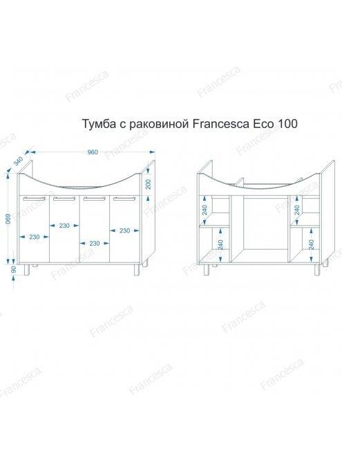 Тумба с раковиной Francesca Eco 100 белый-венге