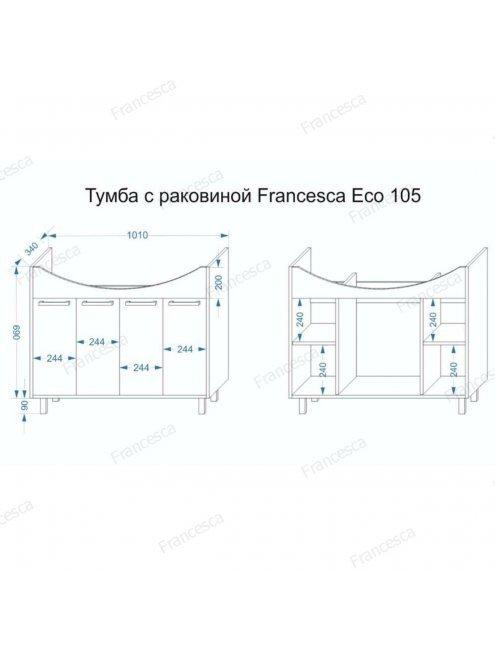 Тумба с раковиной Francesca Eco 105 дуб-венге