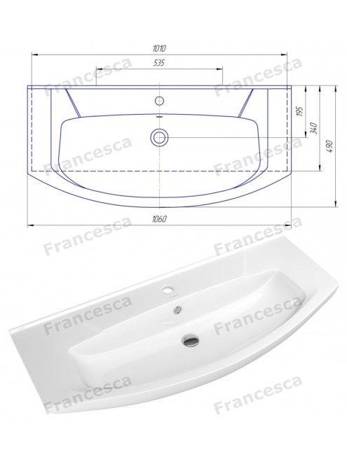 Тумба с раковиной Francesca Доминго 105 (2 ящика) белый (ум. Элеганс 105)