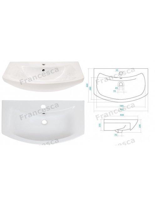 Тумба с раковиной Francesca Eco 70 венге/белый (2 дв. ум Балтика 70)