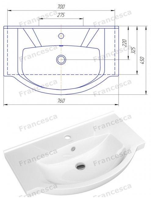 Тумба с раковиной Francesca Eco 75 венге/белый (2 дв. ум. Элеганс 75)