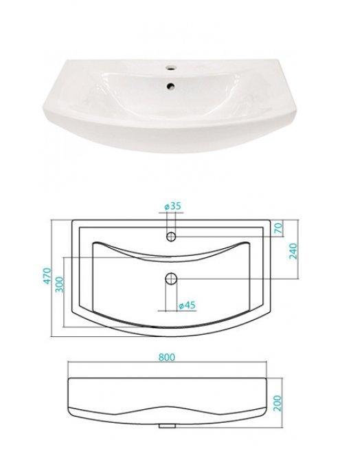 Тумба с раковиной Francesca Версаль 80 белый/венге (2ящ+3дв, ум. Балтика 80)