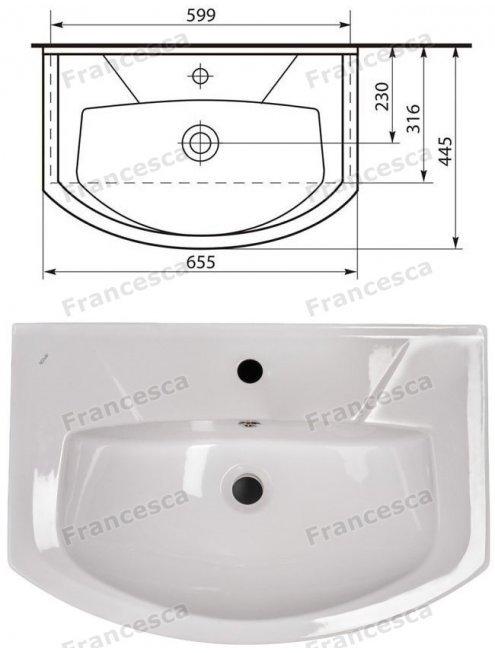 Тумба с раковиной Francesca Eco 65 белый (2 дв. ум. Элеганс 65)