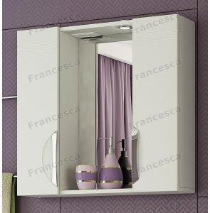 Шкаф-зеркало Francesca Доминго 75 С белый 2 шкафа