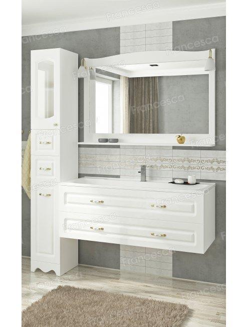 Зеркало Francesca Империя 120 белый полотно (со светильниками)